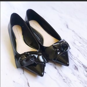 Zara Black Patent Leather Bow Pointed Flats